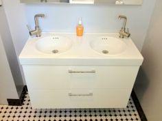 IKEA Godmorgon 2 drawer wash stand with Vitviken double wash basin and Grundtal mixer taps + Godmorgon mirror cabinets! So stylish