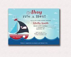 Baby Shower Invite  Printable  Ahoy it's a by DesignsMadeSimple, $12.00