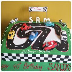 Luxury  cars racing track cake for 40th birthday
