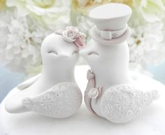 Love Birds Wedding Cake Topper White Dusty Pink Tan by LavaGifts