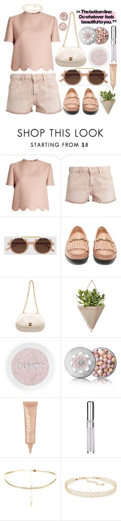 """Do whatever feels beautiful to you..."" by shanelala ❤ liked on Polyvore featuring Valentino, Current/Elliott, Tod's, Chanel, Umbra, Guerlain, tarte, Chantecaille, Panacea and Dana Rebecca Designs"