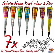7x Golecha Henna - Farbige/colour Kegel á 25g Hennapaste - Klinisch getestet!