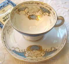 Beautiful blue and gold teacup