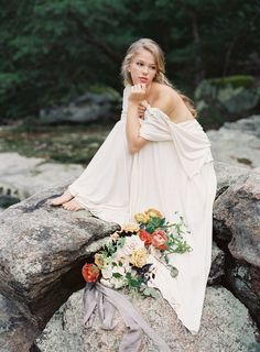 Romantic draped wedding gown dress by Carol Hannah   Autumn Wedding Inspiration at the Mill at Fine Creek by Richmond Virginia Wedding Planner East Made Event Company and Michael and Carina Photography