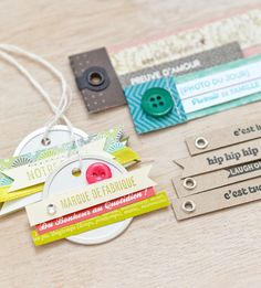 DIY tags from stamped phrases, etc - great idea for these round office tags that I love to use.