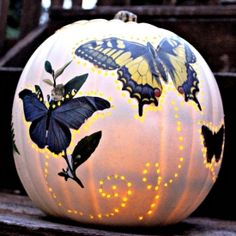 Make a beautiful butterfly pumpkin with this tutorial