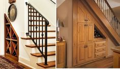 60 Under stairs storage ideas for small spaces Utilize odd space for wine storage Under Stairs Drawers, Storage Under Staircase, Space Under Stairs, Stair Storage, Wine Storage, Built In Storage, Storage Ideas, Cabinet Storage, Wooden Stairs