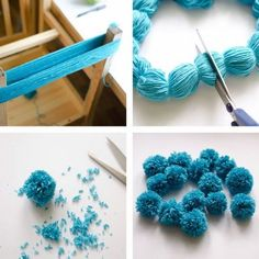 The Easiest Ever Yarn Pom-poms DIY Tutorial. Fluffy pom-poms are so cute, and we can make them into almost everything such as blankets, scarves, chandelier, toy animals and more. Here is the easiest way I found for you to make your own pom-poms at home. Tutorial via: