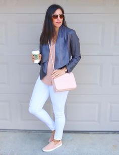 Pink + Grey Leather Jacket | how to style a leather jacket | spring style | spring fashion | styling for spring and summer | warm weather fashion | style ideas for spring | fashion tips for spring | grey leather jacket outfit | sneakers with jeans styling tips | grey jacket outfit ideas | sneakers outfit || The Flexman Flat