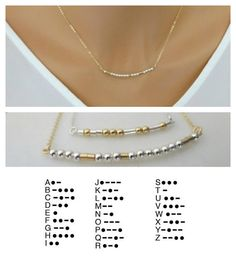 Morse Code Necklace Custom name necklace Personalized gifts Bridesmaid jewelry k. - Morse Code Necklace Custom name necklace Personalized gifts Bridesmaid jewelry kids Names Gift For - Name Jewelry, Custom Jewelry, Beaded Jewelry, Handmade Jewelry, Gold Jewellery, Jewelry Box, Prom Jewelry, Silver Jewelry, Diy Jewelry Making
