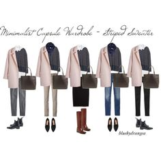 Minimalist Wardrobe - Striped Sweater by bluehydrangea on Polyvore featuring Mode, Vince, Madewell, J.Crew, Gap, MANGO, Siviglia, Cole Haan, H&M and Just Female