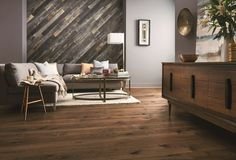 Wood on walls inspiration with a blue-gray laminate.