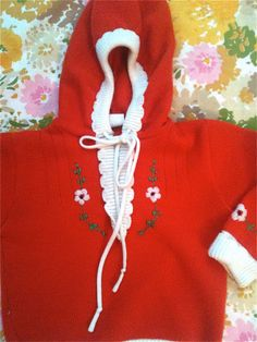 Orange Flowered Sweater 1218 Months by lishyloo on Etsy, $10.00