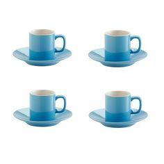 Shop for Bright Blue Espresso Cups & Saucers Set from our Quirky Kitchenware range. Set of 4 blue espresso cups & saucers will make your coffee break a little more vibrant.