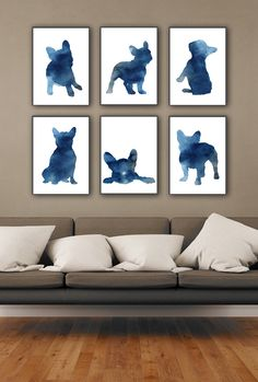 Blue Frenchie Set of 6, Nursery Art Print, Watercolor Painting, French Bulldog Poster, Whimsical Animal Art by Silhouetown on Etsy Order an oil painting of your pet now at www.petsinportrait.com