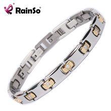 Mejor Calidad de Acero de Titanio de Cristal de Joyería Fina 18 K Oro Mujeres Charm Bracelet de la Curación Magnética Pulsera Brazalete OTB-428SG(China (Mainland))