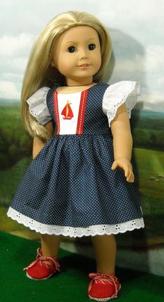 Nautical Juliette Dress and Shoes for 18 by SugarloafDollClothes