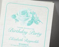 Aqua Rustic Floral Flower Birthday Party Invitation