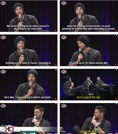 [gifset] Jared on teasing Jensen while he's directing. #NerdHQ15
