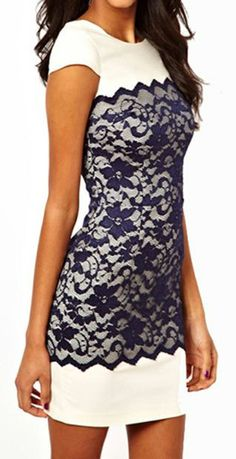 White & Navy Contrast Lace Bodycon Dress დ