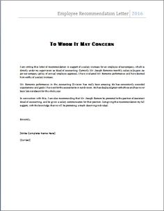 reference letter for employment template