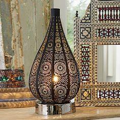 £65.00 Casablanca Lamp Pierced metal lamp with black finish and nickel-plated base reflecting Moorish motifs.