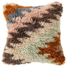 Surya Wool Beige & Mint Pillow