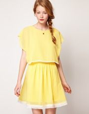 Dahlia Chiffon Cape Dress with lace trim--- MUST OWN