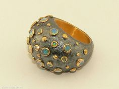 Ox.silver dome ring with opals