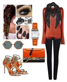 """""""Coral Rust"""" by iffieluv ❤ liked on Polyvore featuring Armani Jeans, Protagonist, Rosie Assoulin, Yves Saint Laurent, Jimmy Choo, Mulberry, Eva Fehren and Hermès"""