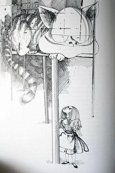 Ralph Steadman's artwork for Alice in Wonderland, 1967. ☀