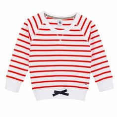 Petit Bateau Big Girl Red Sailor Striped Sweatshirt