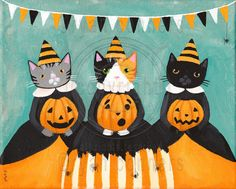 """The Pumpkin Carvers Halloween Cats Original Folk by KilkennyCatArt """"The Pumpkin Carvers"""" -Painted with Golden acrylics. -10"""" x 8"""" wrapped canvas -Topped with two coats of gloss varnish. -Signed, titled, and dated on the back by me! These three prided themselves on how well they could carve a pumpkin! Here they sat for a portrait with their pumpkins."""