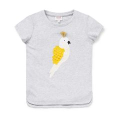 100% Cotton. Short sleeve t-shirt features front placement bird motif with gold foil accents, layered feathers and tassle trim. Regular fitting silhouette. Available in Cloud.