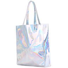 Silver PU Shoulder Bag ($17) ❤ liked on Polyvore featuring bags, handbags, shoulder bags, shoulder bag handbag, silver shoulder handbags, silver purse, silver shoulder bag and shoulder hand bags