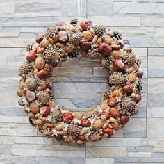 Natural wreath for front door year round, Farmhouse door decor, Fall outdoor with cones acorn nuts moss and chestnuts by HomeBeautyDecor on Etsy # Autumn Wreaths, Holiday Wreaths, Pine Cone Wedding, Acorn Wreath, Painted Pinecones, Acorn Crafts, Idee Diy, Wreaths For Front Door, Pine Cones