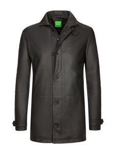 Boss Green Lederjacke, Jeight, schwarz  #green #jeight #lederjacke #schwarz Denim Jacket Men, Athletic, Coats, Fashion, Leather Jackets, Mandarin Collar, Cloakroom Basin, Jackets, Black