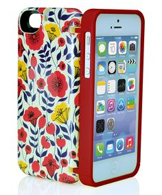 Red Floral Storage Phone Case for iPhone 5/5s
