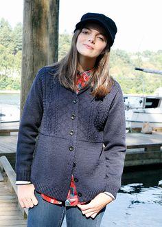 Top Down Set-in Sleeve Sweater Pattern - Gansey Cardigan Knitting Pattern - Fisher Lassie Cardi - Downloadable Knitting Patterns - Chic Knits Knitting Patterns designed by Bonne Marie Burns