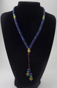 108 Flat Natural Lapis Lazuli Stone Mala With 6 Syllable Mantra Tassel and Buddha Head Charm Mala