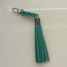 Luxury leather tassel bag charm / key fob in sea от RinartsAtelier