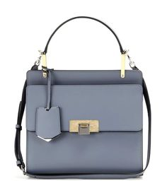 Le Dix Cartable Small grey leather shoulder bag