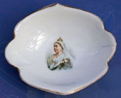 Antique Queen Victoria Diamond Jubilee British Porcelain Dish Doulton Lambeth