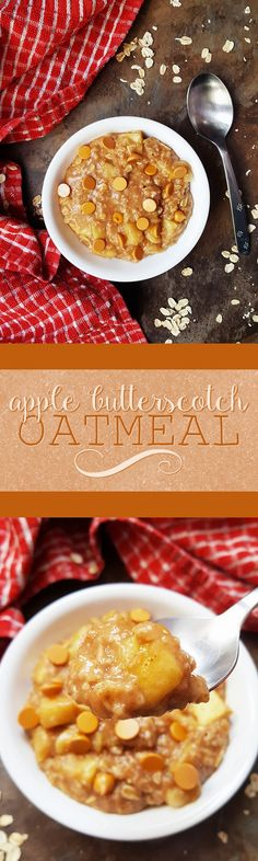 {Healthy; Low Calorie; Vegan; GF-Adaptable} This apple butterscotch oatmeal is a seasonally delicious way to start your morning!