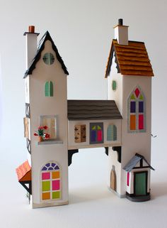 Paper architecture by House- Helen musselwhite Cardboard City, Cardboard Toys, Paper Toys, Paper Crafts, Paper Art, Box Houses, Paper Houses, Miniature Houses, Diy Dollhouse