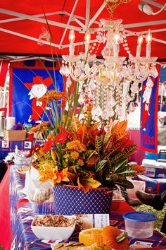 This is exactly what i had in mind, just with gator colors/flags ... I will be the tailgatin' Queen y'all!  Happy Tailgating Y'all! | Ole Miss Tailgate