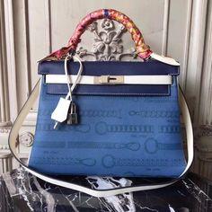 Hermes Blue & White Kelly 32cm Togo Palladium Hardware by Bella Vita Moda Personalization For sale at  http://www.bellavitamoda.com #hermes #hermesbirkin #hermeskelly #hermesbag #hermesbuyer #baglover #bagaddict #onlineshopping #fashionistas