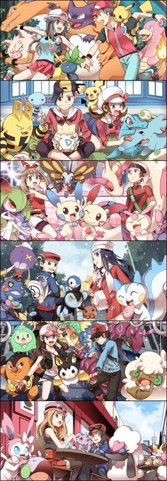 Every region of pokemon and its pokemons! Every region of pokemon and its pokemons! Pokemon Go, Pokemon Fan Art, Pokemon Stuff, Pokemon Remake, Pokemon Kalos, Pokemon Poster, Pokemon Charizard, Pokemon People, Digimon