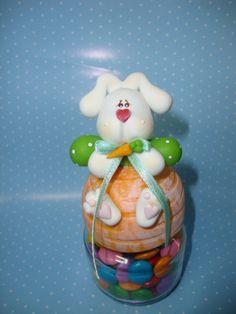Potinho guloseimas com decoração em porcelana fria