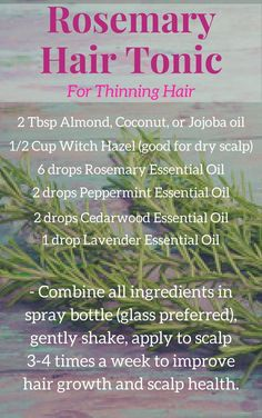Thinning hair is no fun. Try this easy DIY tonic to promote hair growth and give your scalp some refreshing nourishment.   #rosemaryessentialoil #hairtonic #scalphealth. #cedarwoodessentialoil #lavenderessentialoil